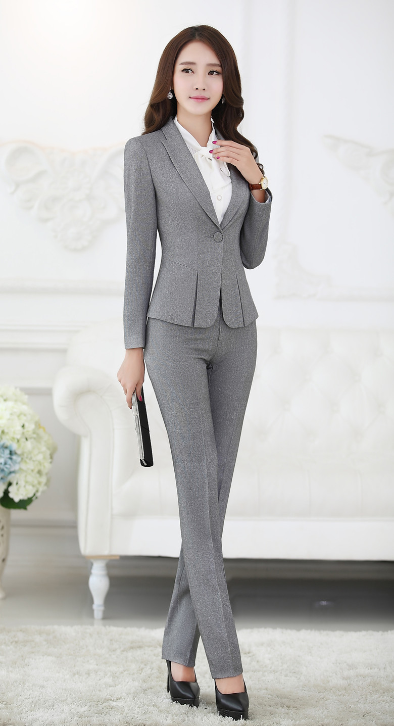 Formal Pant Suits For Women Business Suits For Work Wear Sets Gray