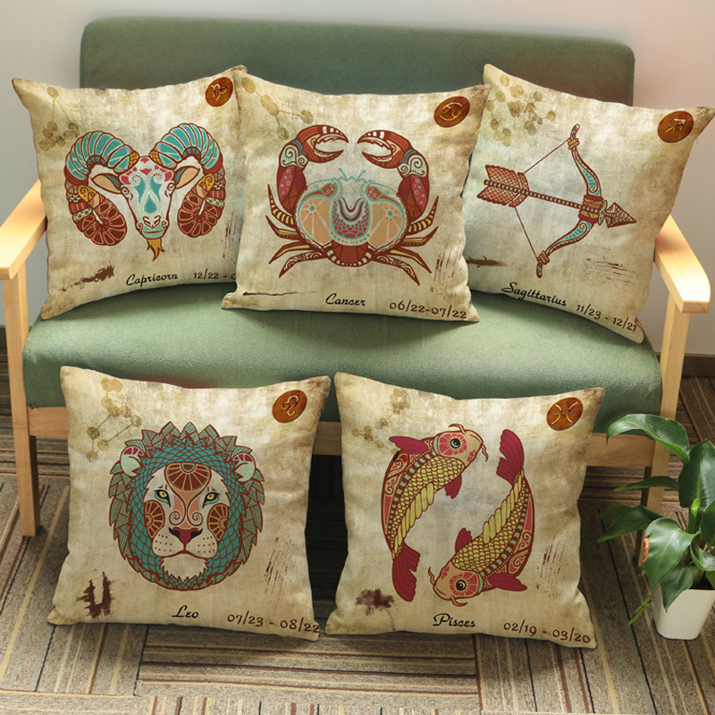 Hand-painted Animal Cushion Ttwelve Constellations Cushion Decorative Pillow Cushions Without Filling Coussins Decoratif Hot(China (Mainland))