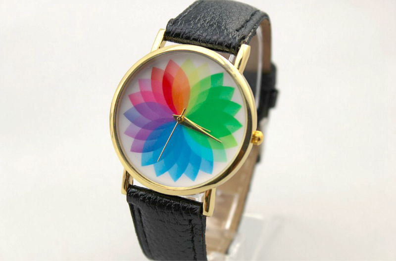 Freeshipping 100pc/lot discount sales rainbow flower face girls watch,quality PU leather band,precise quartz movement.8colors<br><br>Aliexpress