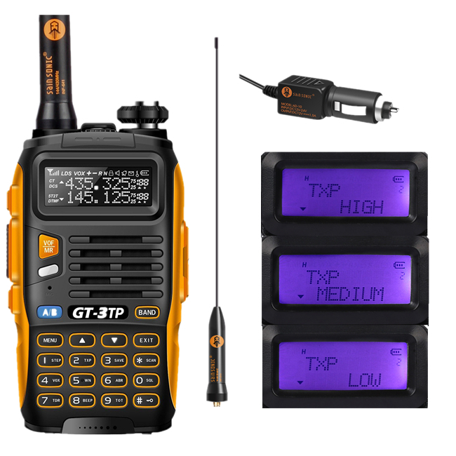 Baofeng GT-3TP MarkIII TP 1/4/8Watt High Power Dual-Band 136-174/400-520MHz Ham Two-way Radio Walkie Talkie + Case + Car Charger(China (Mainland))
