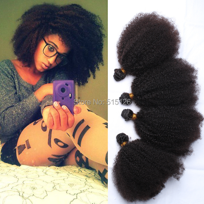 6A Sunny Queen Hair Products Mongolian Kinky Curly Hair Extensions 4pcs Afro Kinky Curly Virgin Human Hair Weave Natural Black(China (Mainland))