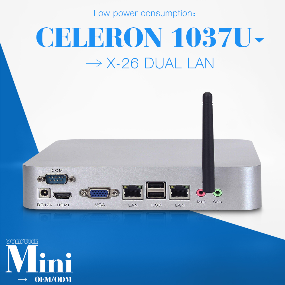 celeron C1037U MINI PC 2 lan 8gb ram 320gb hdd Desktop computer case mini desktop pc support HD video thin client(China (Mainland))