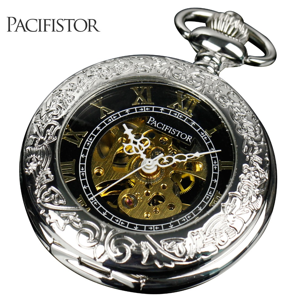 PACIFISTOR Mens Antique Pocket Watch Mechanical Skeleton Pocket Watches Necklace Pendant Chain Gent Reloj Hollow Carving(Hong Kong)