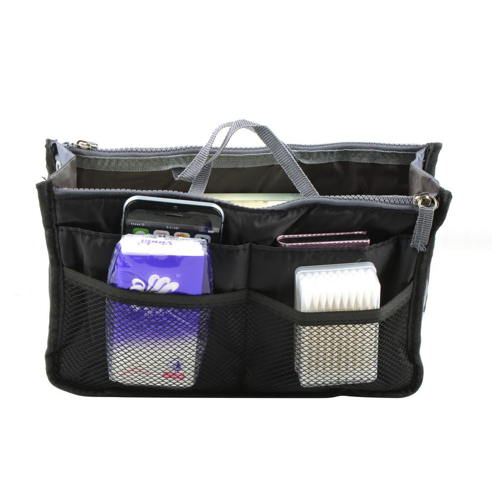 New Women Makeup Organizer Bag Handbag Purse Large liner Travel Insert Lady Casual Cosmetic Bag Travelling Bag Multifunction(China (Mainland))