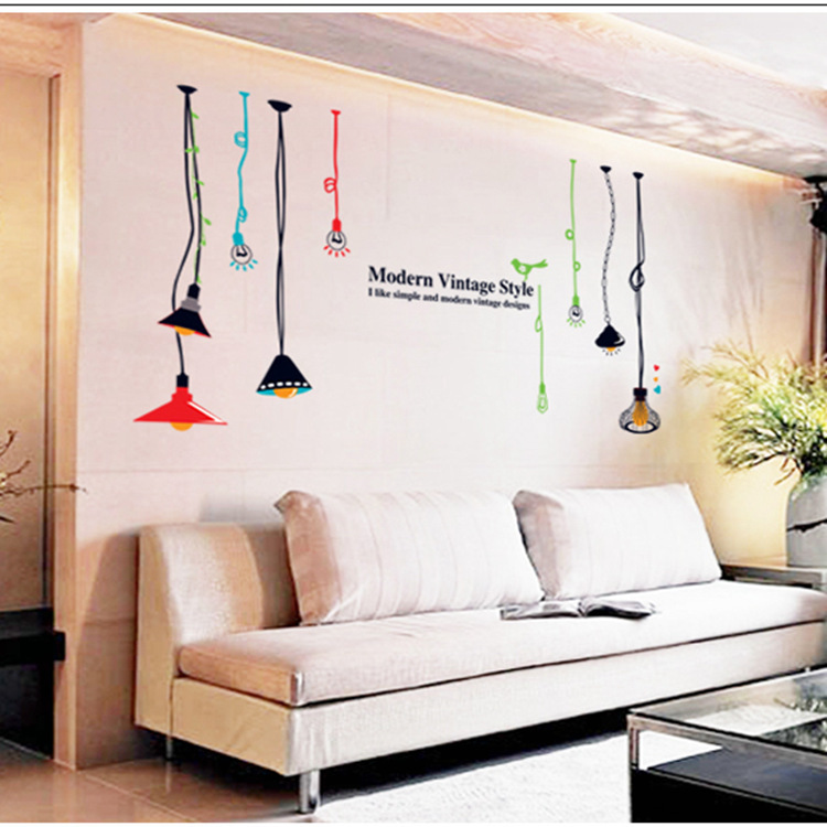 Modern Vintage Home Decor Creative DIY PVC Removable Hanging Lamps Wall Stick