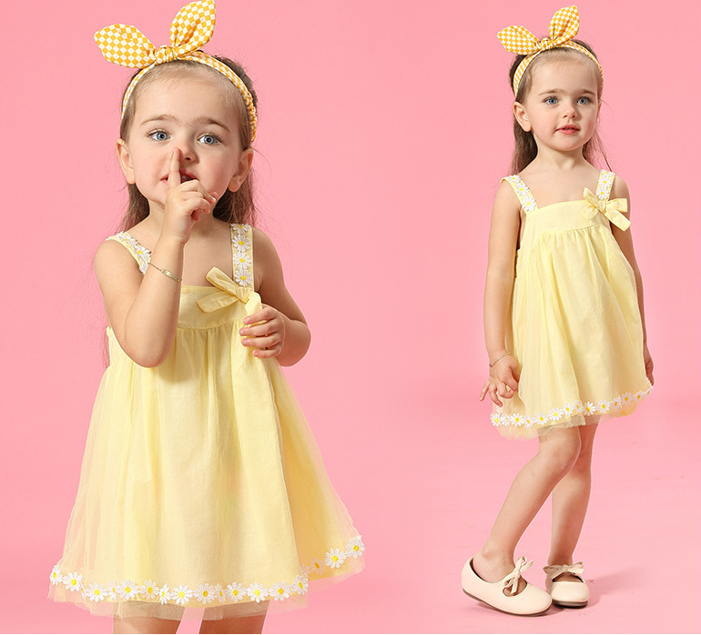 2016 baby Summer girls clothes Toddler Infant dresses beautiful sunflower girls strap sundress kids dress with hair band(China (Mainland))