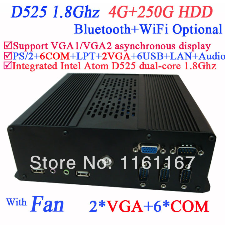 DIY NEW wifi mini pc windows thin clients with 2 VGA 6 COM Intel Atom D525 dual core 1.8Ghz 4G RAM 250G HDD with LVDS supported(China (Mainland))