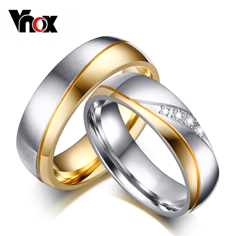 Hot Sale Rings For Women Man CZ Diamond Wedding Ring 18k Gold Plated Stainles