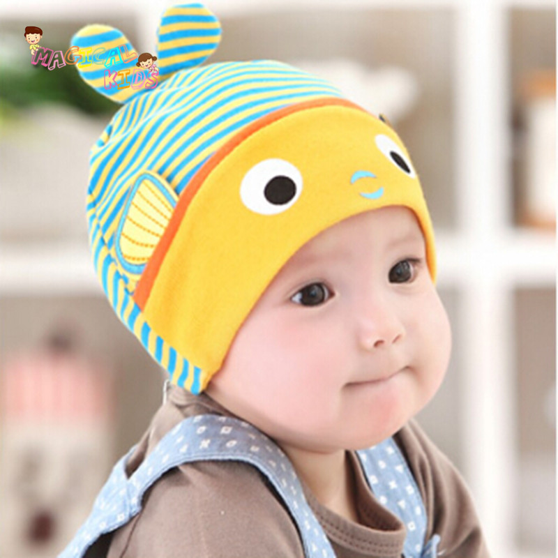 2016 New Spring Baby Hats Soft Cotton Baby Lovely Fish Shape Stripe Caps Boys Girls Hat Infant Newborn Kids Cap(China (Mainland))