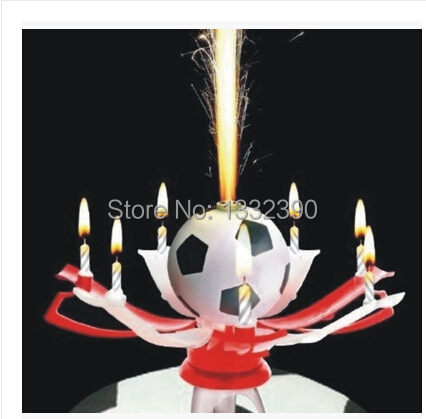 Free shipping! 2014 birthday candles romantic music candle candle cup football color automatic blossom Wedding Candle(China (Mainland))