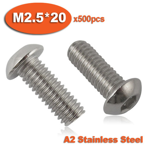 500pcs ISO7380 M2.5 x 20 A2 Stainless Steel Screw Hexagon Hex Socket Button Head Screws<br><br>Aliexpress