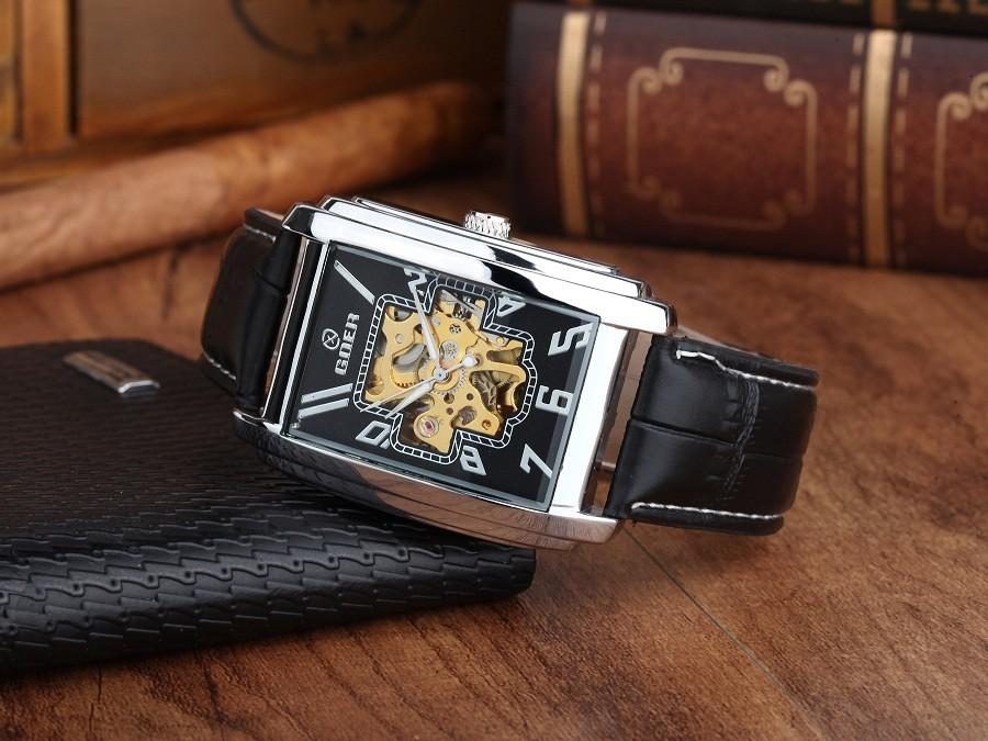 GOER марка Скелет человека автоматические часы мужские наручные площади часы Кожа механическая водонепроницаемый Световой цифровой