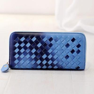 New Braided Gradual change purse female purse Slim weave purse lovely Korean Ms. purse wallet Free shipping(China (Mainland))