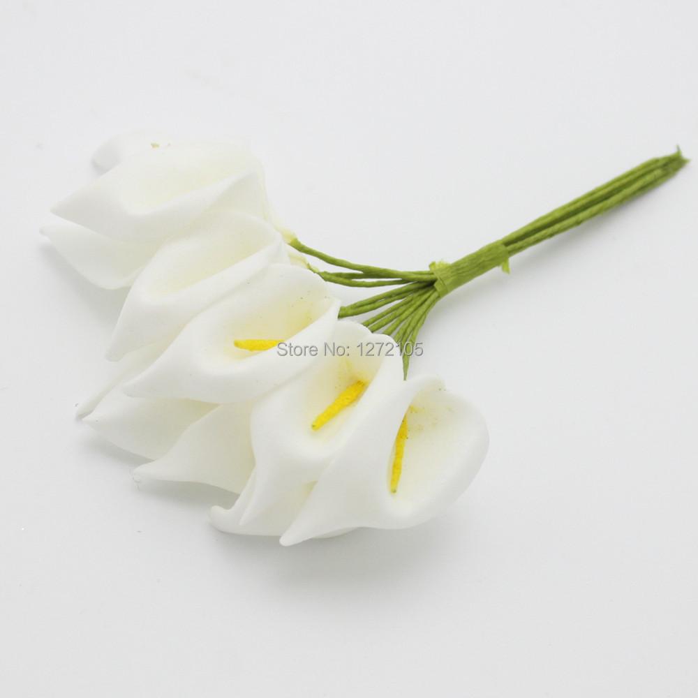 Artesanato Mini Calla ( 144 ) decorações de casamento flor 2 – 4 cm pequeno PE Artificial