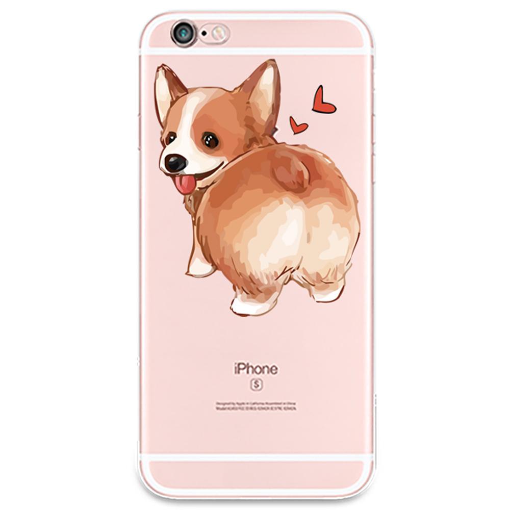 Corgi pattern Style Soft Phone Cases White for phone 6 6s plus 5 5s 5c 4 4s(China (Mainland))