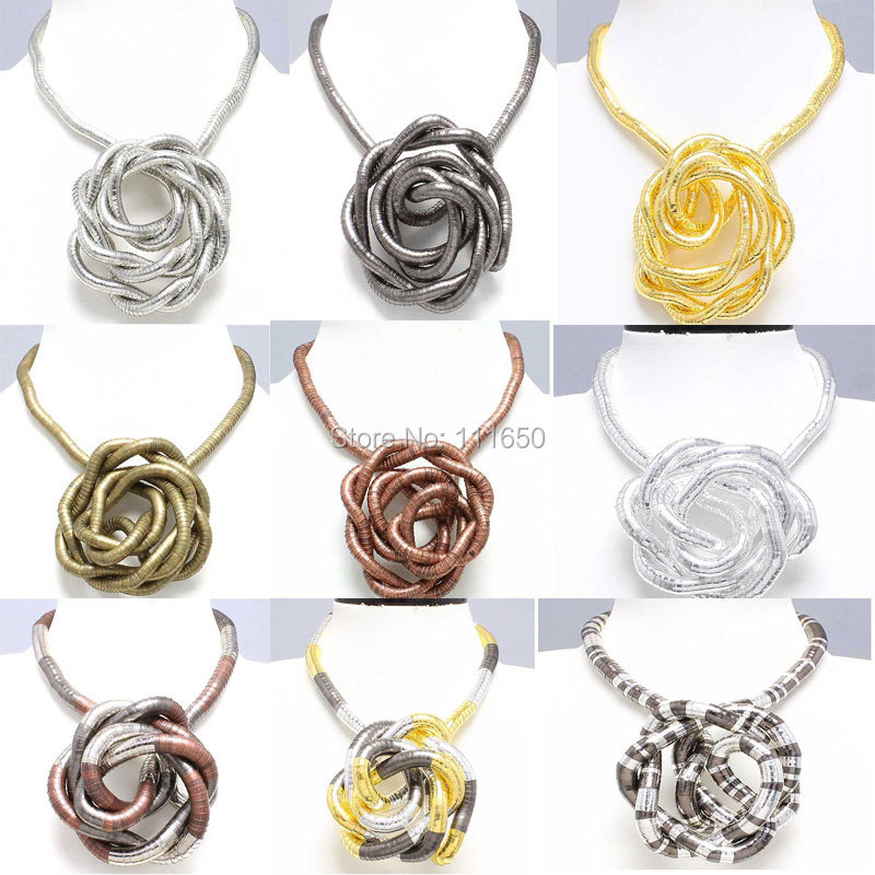 Drop Shipping Retail 5mm 90cm Mixed Colorful Iron Bendable Flexible Twisted Snake Necklace 13 Colors Available,1pcs/pack(China (Mainland))