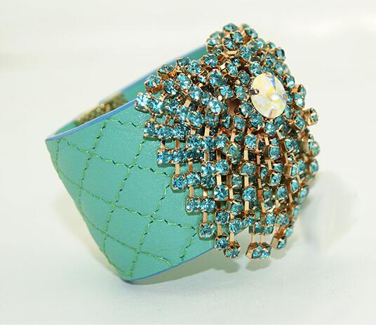 Genuine leather bangle bracelet lover Inlay zircon 2015 famous designer jewelry women pulseras best friend gift - Style sight fashion store