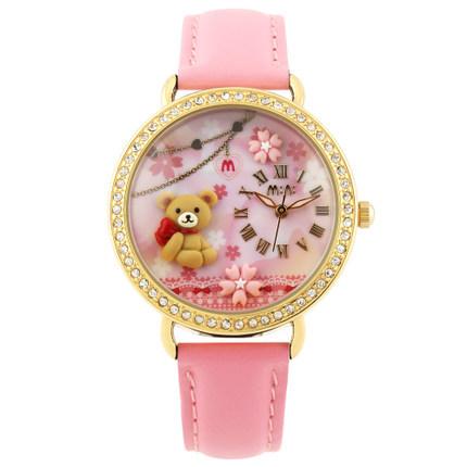 2014 New Korea Polymer Clay MINI Watches 3D Effets Diamond Women Quartz Watch Fashion Quartz Watches Top Brand Lovely Bear(China (Mainland))