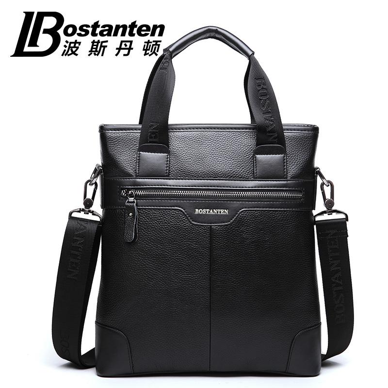 BOSTANTEN 100% GENUINE LEATHER Real Cowhide Shoulder Men's Bag Business Messenger Handbag briefcase Tote Laptop Casual Purse
