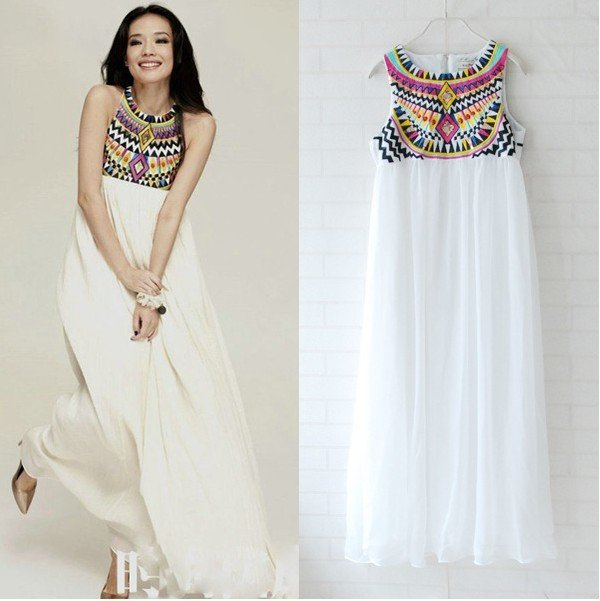 New fashion chiffon maxi sequins design dresses