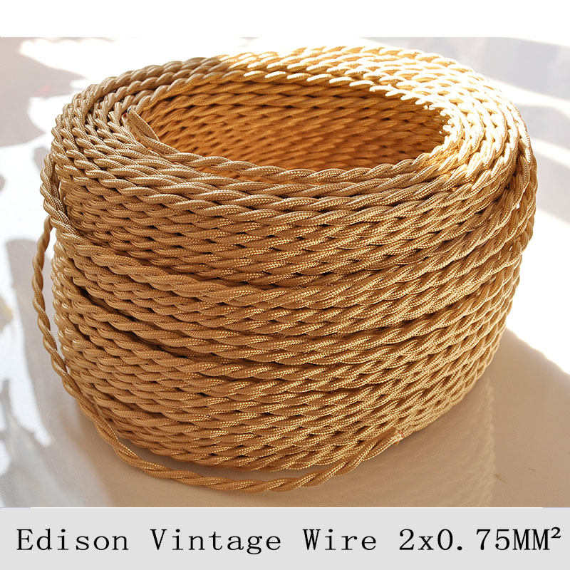 2*0.75mm2 Vintage Lamp Cord Braided Wire Light Gold Knitted Cloth Twisted Electrical Wire Retro Edison Pendant Lamps Cable 10M(China (Mainland))