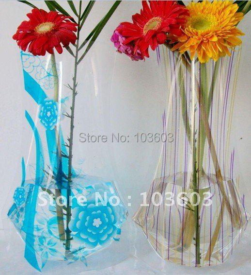 Fashion folding Vase, plastic Vase, Large PVC Vase, Home Decoration, Gift 20pcs/lot + Free Shipping(China (Mainland))