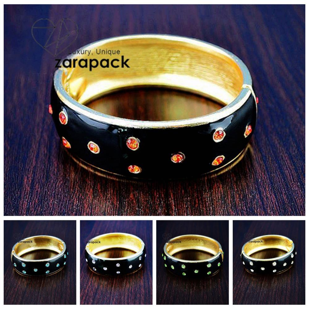 Luxury Gold Plated Enamel Hinged Color Rhinestone Bangle Metal Bracelet(China (Mainland))