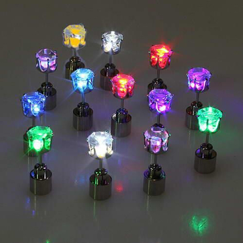 1 Pair Light Up LED earrings Studs Flashing Blinking Stainless Steel Earrings Studs Dance Party Accessories unisex for Men Women(China (Mainland))
