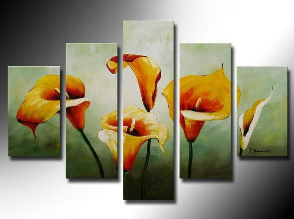 100% Hand painted New lily High Q. Decorative painting/canvas flower oil painting Five is assembled(China (Mainland))