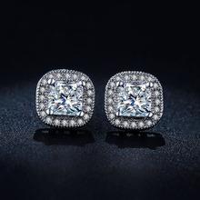 Diseño clásico de Oro Blanco Plateado corte Princesa Big Square CZ Diamond Stud Pendientes de Boda para Las Mujeres E847