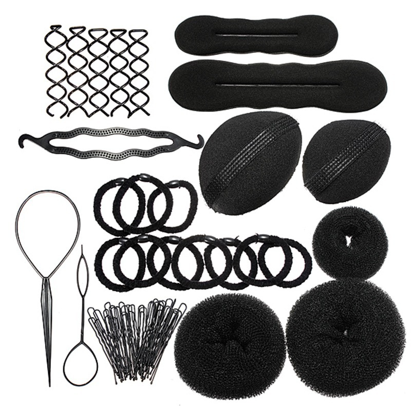 Pro Foam Sponge Magic Hair Styling Clip Maker Tools Pads Hairpins Bun Donut Accessory Set New(China (Mainland))