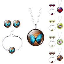 Christmas Jewelry Set Necklace Earring and Bangle Set Glass Cabochon Butterfly Pattern Earring & Necklace Bracelet Set(China (Mainland))