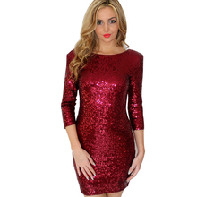 Backless Mini Women Dress O Neck Three Quarter Sleeve Plus Size Bodycon Party Pencil Sequined Dresses DGCG0084(China (Mainland))