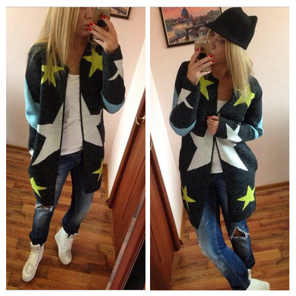Autumn Winter Long Cardigans Women's Knitted Cotton Star Oversized Casual Sweaters(China (Mainland))