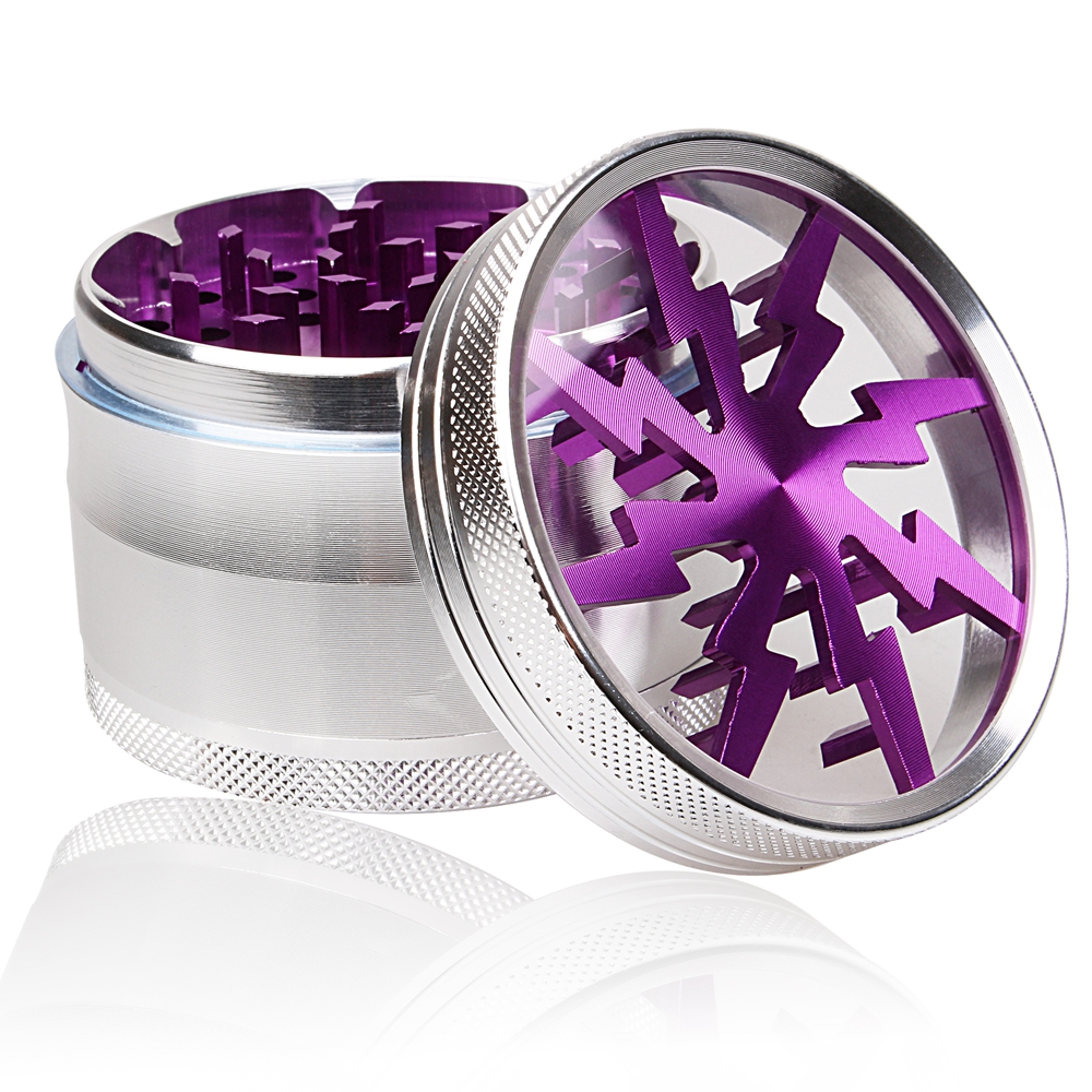 Lightning-shaped 4 Layers 2.5 Inch Diameter 1.8 Inch Height Smoking Weed Herb Grinders Tobacco Cigarette Quality Crusher(China (Mainland))
