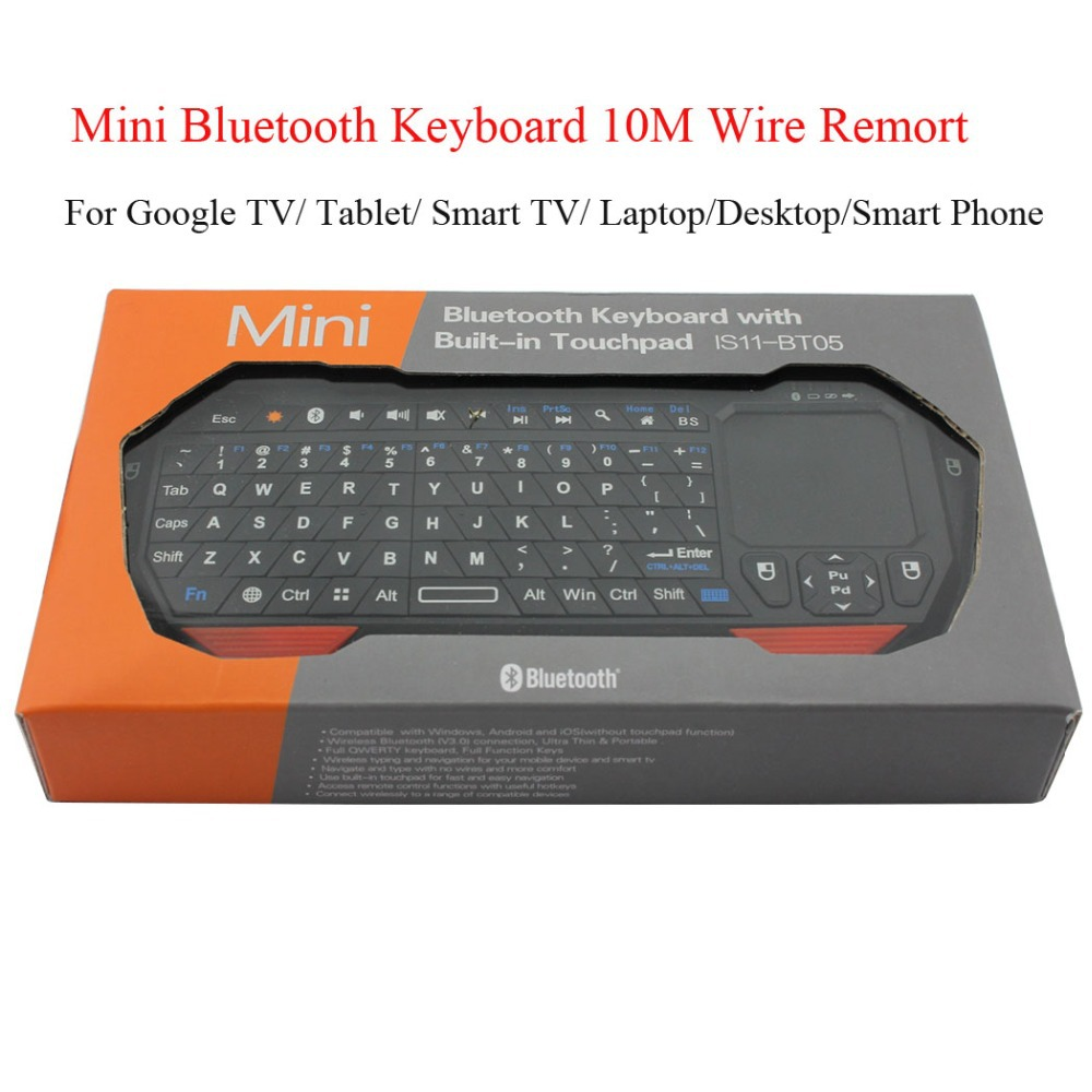 Mini Bluetooth Keyboard With Built-in Touchpad 10M Wireless Remote For Google TV/ Tablet/ Smart TV/ Laptop/Desktop/Smart Phone(China (Mainland))