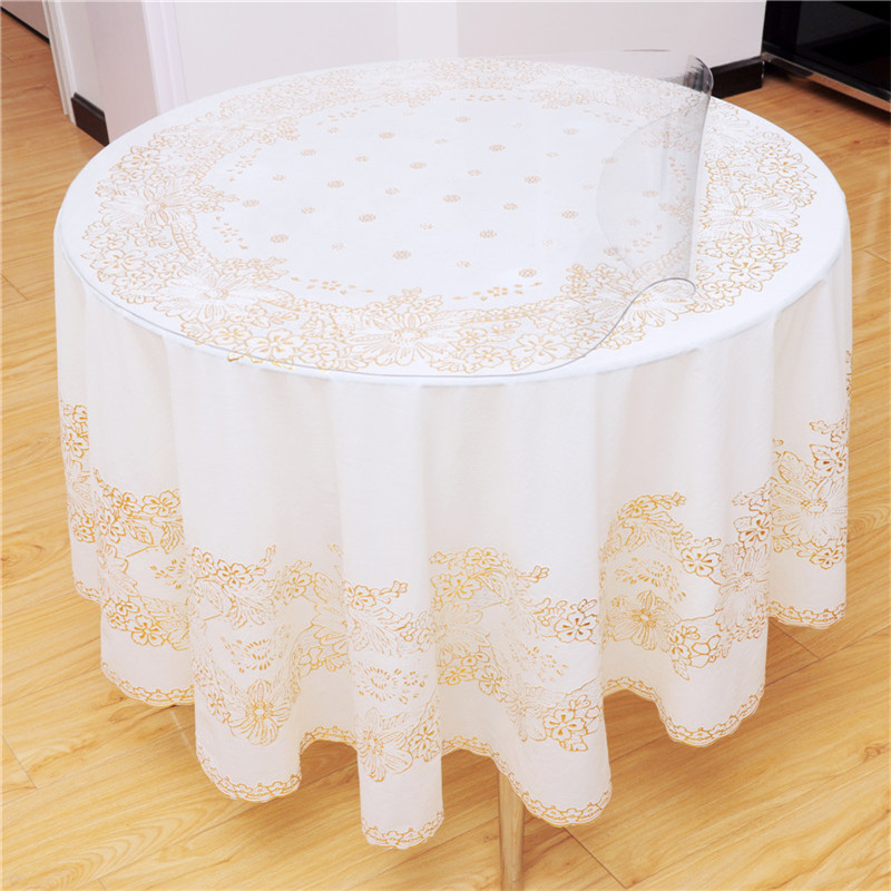 Round table cloth waterproof disposable oil western table cloth bronzier square table cloth soft glass transparent crystal plate(China (Mainland))
