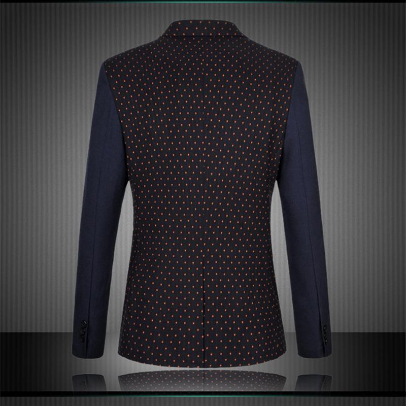 [LangChun] Men Blazers Plus Size M-6XL 2015 New Fashion Polka Dots Casual Patchwork Slim Fit Suit Jacket F21