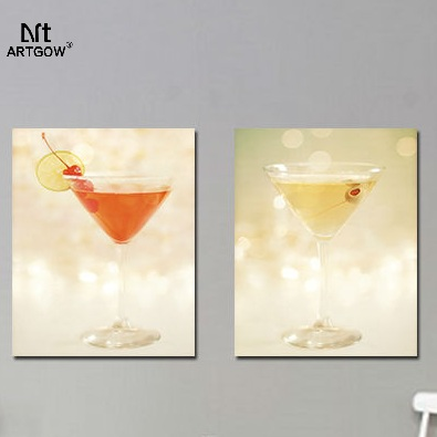 Colorful cup 2 pcs Still Life children living room Decoration cocktail Canvas Painting on wall Hanging home decor unframed(China (Mainland))