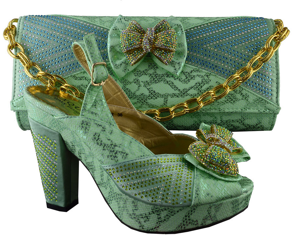 Hot sale Italian matching shoe and bag sets with rhinestone for women,B8012 green color fashion African women shoes and bag set.<br><br>Aliexpress