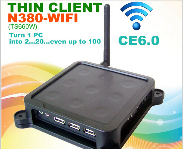 MINI PC thin client N380 with Black Nine Dots WIFI CE 6.0 Thin Client Flash XP 2000 Server 2003 Windows 7 or 8 Linux supported(China (Mainland))