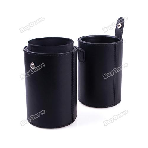 happyshop Peony Black Leopard Pro Woman Makeup Cup Brush Jewelry Holder Storage Carry Case Black 01