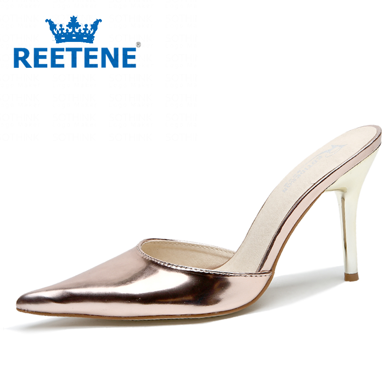 Fashion Summer Womens Sexy High Heels Sandals Women Metallic Color Pointed Toe Slides Shoes - REETENE store