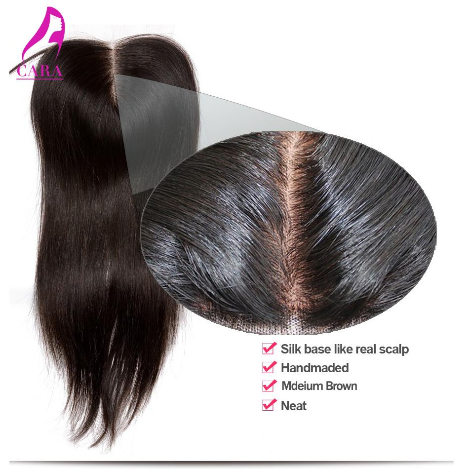 Silk Base Closure 6A Brazilian Virgin Hair Straight Silk Base Closure Bleached Knots Free Middle 3 Part Straight Brazilian Hair