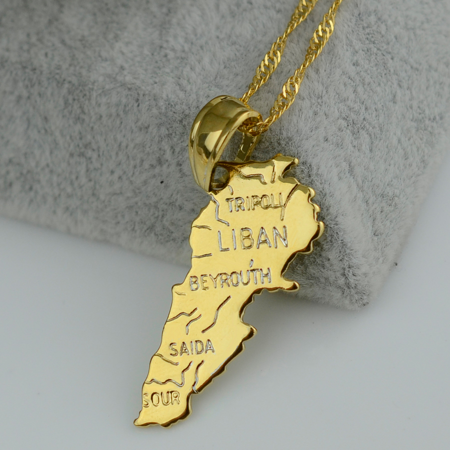Pendant 3 2cm x 1 5cm Liban map necklace pendants W chain 45cm 60cm women men