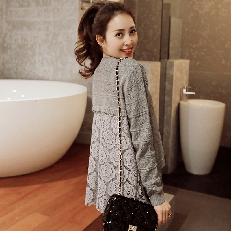 women's spring faux two piece lace basic sweater pullover loose female outerwear - LL fashion show store