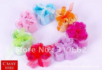 Wholesale, Freeshiping, Flower Soap, Heart Shape, Rose Petals, 3pcs/box, 75boxes/lot, wedding gifts, Birthday Gifts