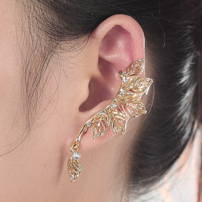 Pendientes Trendy style fashion clip earrings hot sale ear cuff for women gold plated leaf earring full crystal earrings2016(China (Mainland))