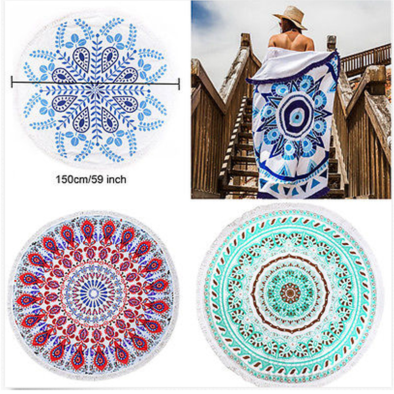 Retro Indian Mandala Round Hippie Tapestry Wall Hanging Boho Summer Beach Towel Blanket Yoga Mat Home Decor 150cm
