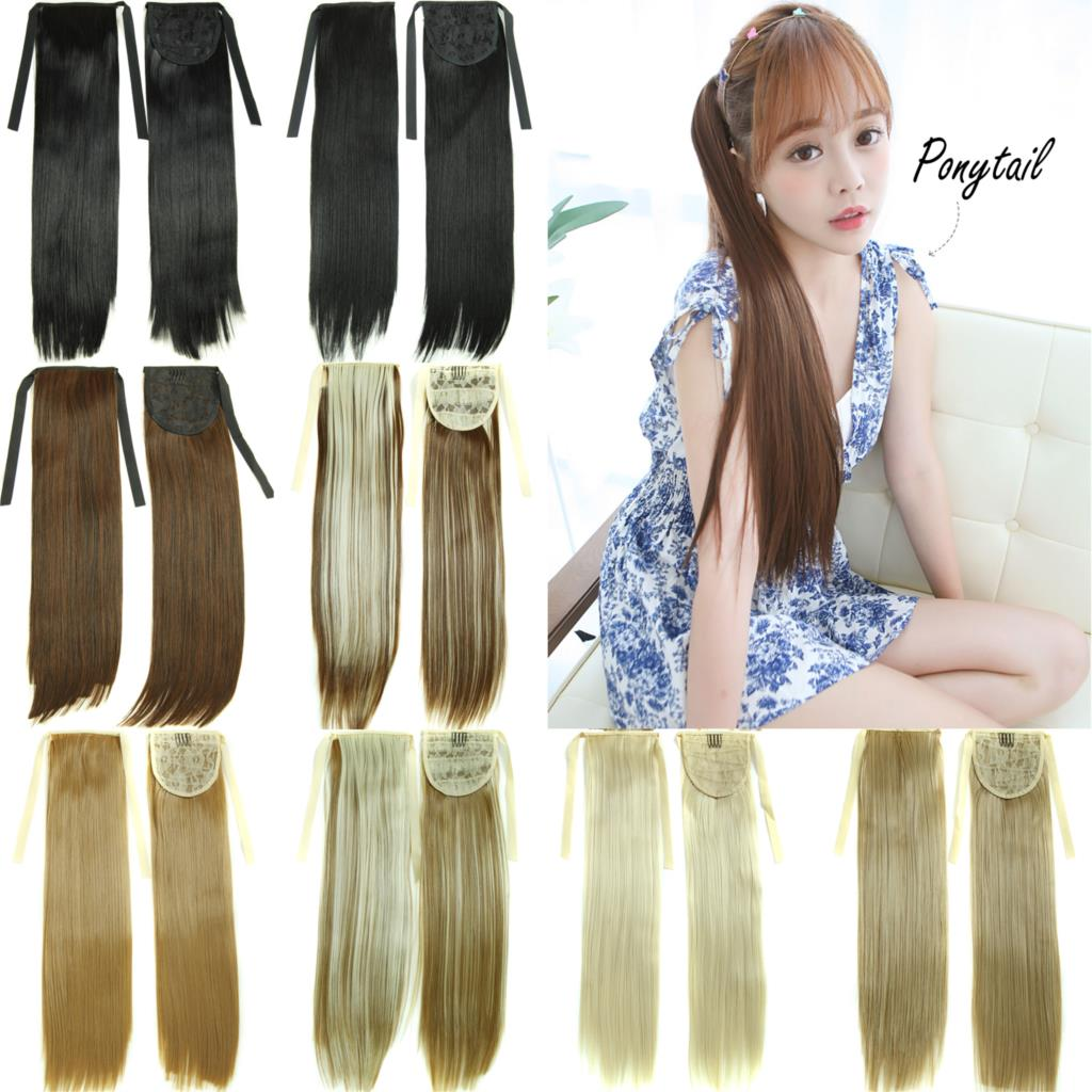 """22""""Long Straight Fake Hair Ponytail Apply Hair Clips Pony Tails Hairpiece Ribbon Ponytails Extensions Synthetic Hair Piece Tress(China (Mainland))"""